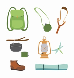 Trekking and camping icons vector