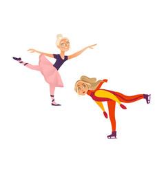 two teenage girls figure skater and ballet dancer vector image vector image