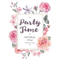 Vertical frame card with pink blooming vector