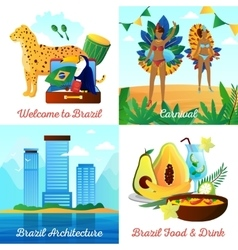 Brazil travel 4 flat icons square vector