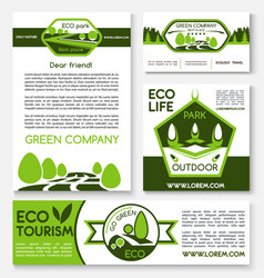 Eco tourism and green travel templates vector