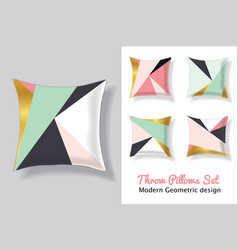 Set of pink and mint green throw pillows in vector