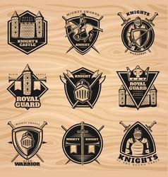 black vintage knights emblems set vector image