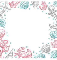 Template for greeting card and poster sea shell vector