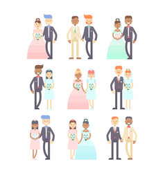 Wedding couples set of flat characters vector