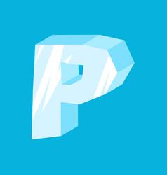 Letter p ice font icicles alphabet freeze vector