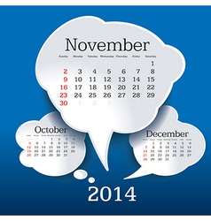 November 2014 bubble speech calendar vector
