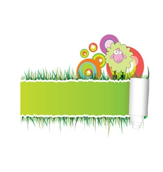 Paper with green sheep vector