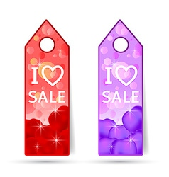 stickers with i love sale made of rosses petals vector image