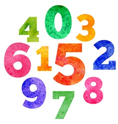 Set of watercolor colorful numbers vector