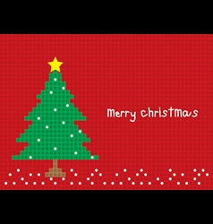 Merry christmas tree postcard horizontal vector