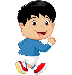 Cartoon little kid running vector