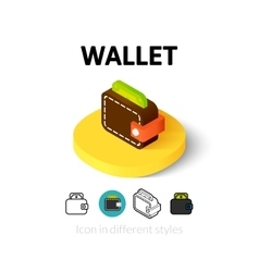 Wallet icon in different style vector