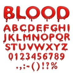 Blood alphabet numbers and symbols vector