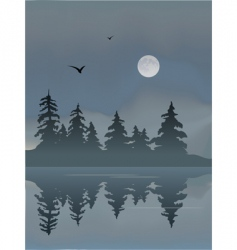 foggy lake vector image
