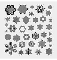 Snowflakes abstract design elements optical art vector