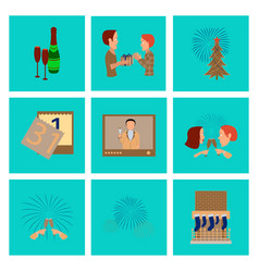 Assembly flat new year celebration vector