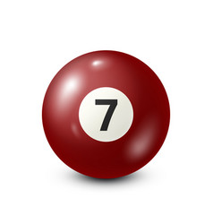 Billiardred pool ball with number 7snooker vector
