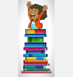 boy with stack of books vector image