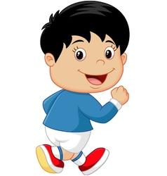 Cartoon little kid running vector