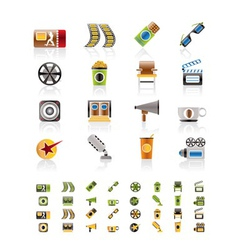 cinema and movie - icon set vector image