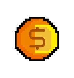 Coin game pixel figure isolated icon vector