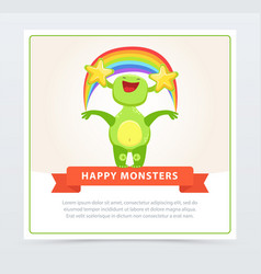 cute funny green monster holding colorful rainbow vector image vector image