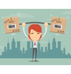 Delivery woman cartoon character with cartons box vector