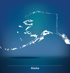Doodle map of alaska vector