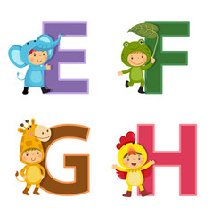 English alphabet with kids in animal costume e-h vector