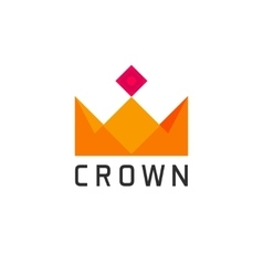 Flat abstract geometric golden royal crown logo vector