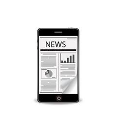 Flick newspaper with smartphone vector