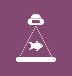 Icon flying saucer and fish vector