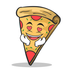 in love pizza character cartoon vector image vector image
