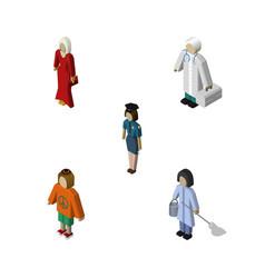 isometric human set of housemaid policewoman vector image vector image