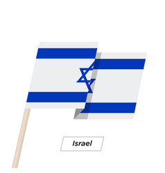 Israel sharp ribbon waving flag isolated on white vector