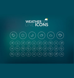 Linear weather icons set vector