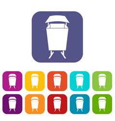 Litter waste bin icons set flat vector