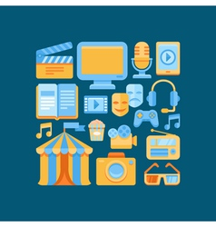media and entertainment concept in flat style vector image