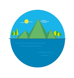 mountains island in color flat vector image vector image