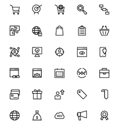 Online marketing line icons 3 vector