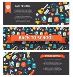 School flat design flyer templates vector