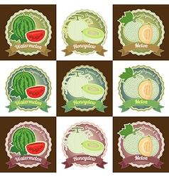 Set of various fresh melon fruit label tag badge vector