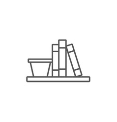 shelf with books isolated icon in linear style vector image vector image