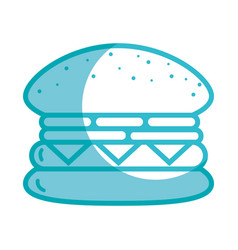 Silhouette tasty and fresh hamburger fast food vector