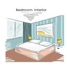 Sketchy color of bedroom interior hand drawi vector image vector image