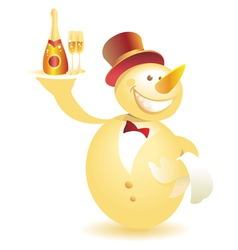 Snowman-waiter with champagne gold vector image vector image