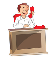 Tired businessman talking on telephone vector