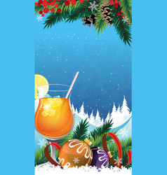 Tropical cocktail on a winter background vector