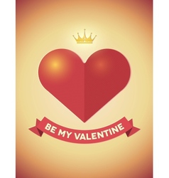 Vintage Valentines Day card with heart crown and vector image